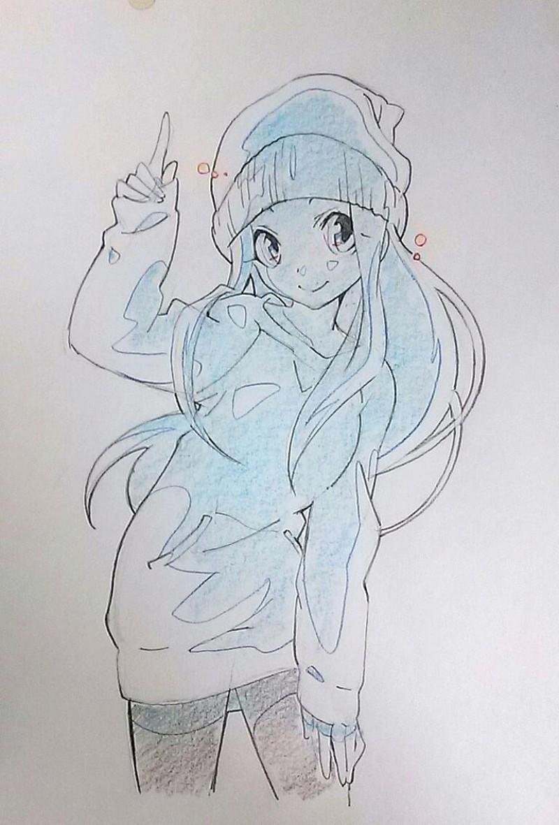 Dessins de filles coquines au crayon bleu - Dessin fille manga ...