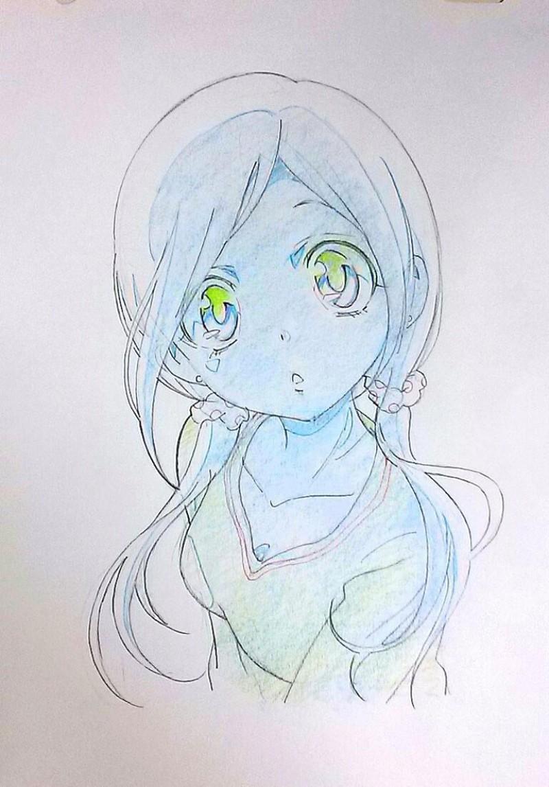 Dessins de filles coquines au crayon bleu - Dessin de manga fille ...