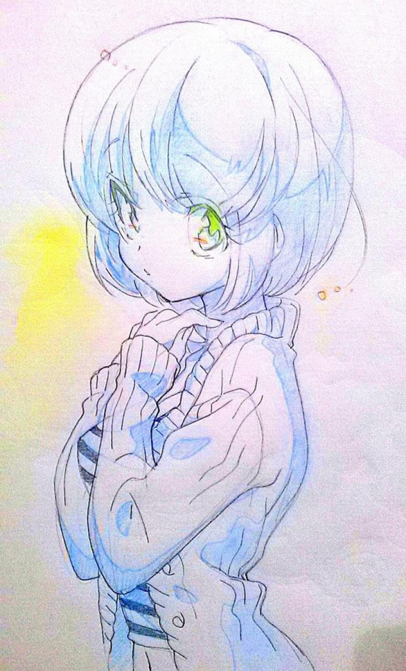 Dessin au crayon de fille