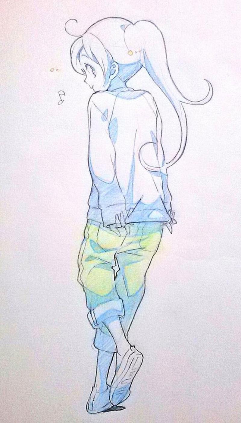 Dessins de filles coquines au crayon bleu - Dessin de fille belle ...