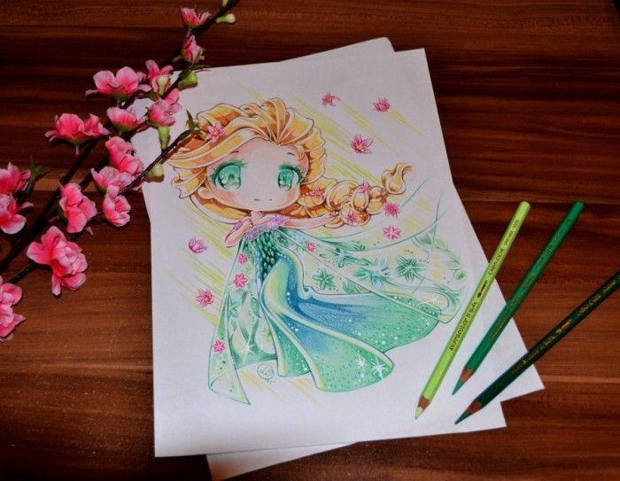 crayons de couleur reine des neiges