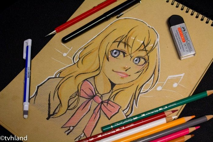 Comment dessiner Kaori Miyazono de Your Lie In April? - Dessin sur papier kraft