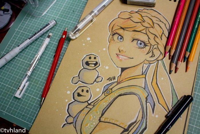 Comment Dessiner Anna De La Reine Des Neiges Au Papier Kraft