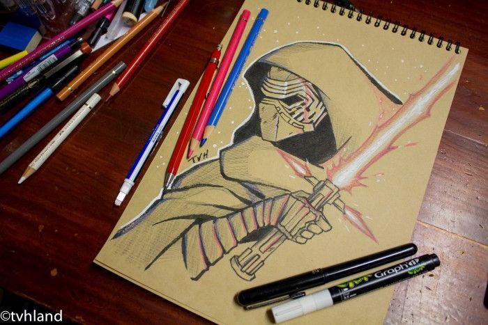 Comment dessiner kylo ren au papier kraft star wars le r veil de la force - Comment dessiner une star ...