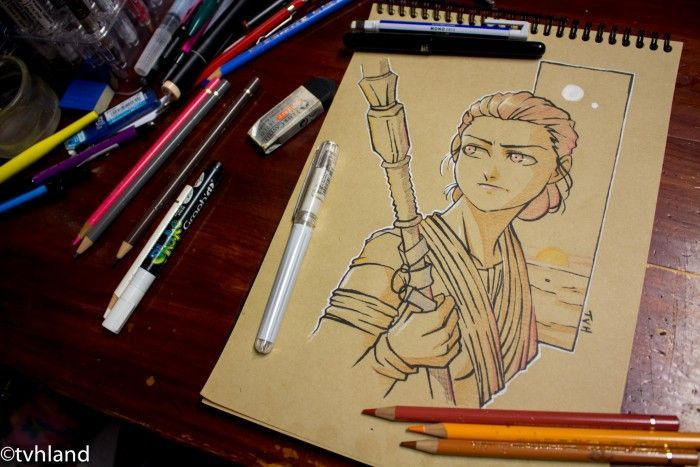 Comment dessiner Rey au papier kraft - Star Wars Le Réveil De La Force