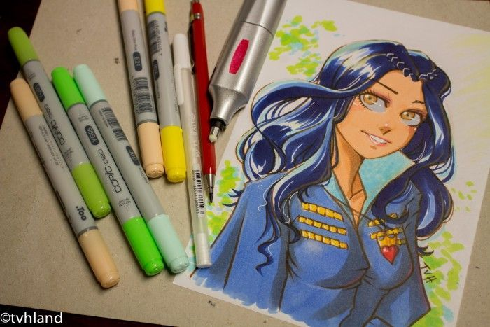 Comment dessiner Evie de Descendants aux feutres Copic ?