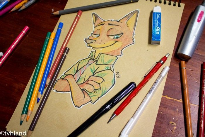 Comment dessiner Nick Wilde au papier kraft - Zootopie