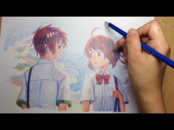 Colorier avec 3 crayons de couleurs Your Name Kimi No Na Wa !