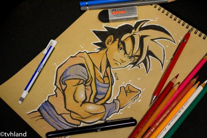 Comment dessiner San Goku de Dragon Ball Z? - Dessin sur papier kraft
