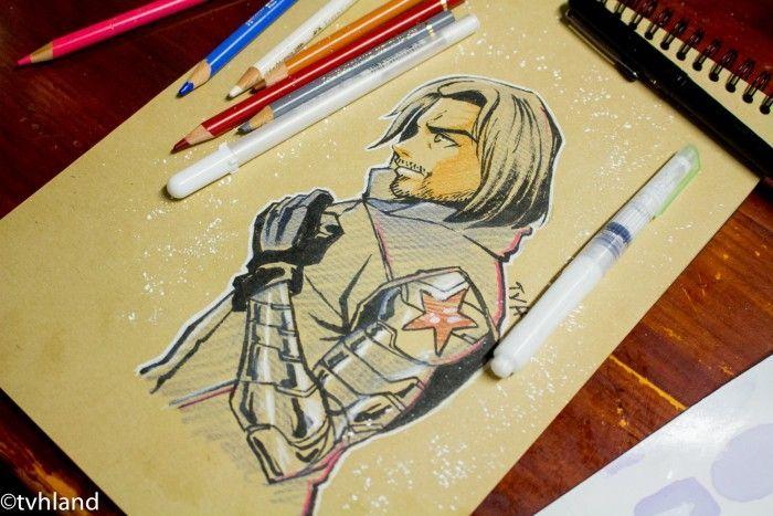 Comment dessiner le soldat de l 39 hiver de captain america civil war dessin sur papier kraft - Dessin sur l hiver ...