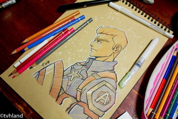 Comment dessiner Captain America Civil War? - Dessin sur papier kraft