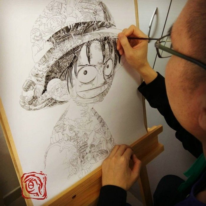 One Piece - Incroyable composition pour faire le portrait de Luffy D Monkey !