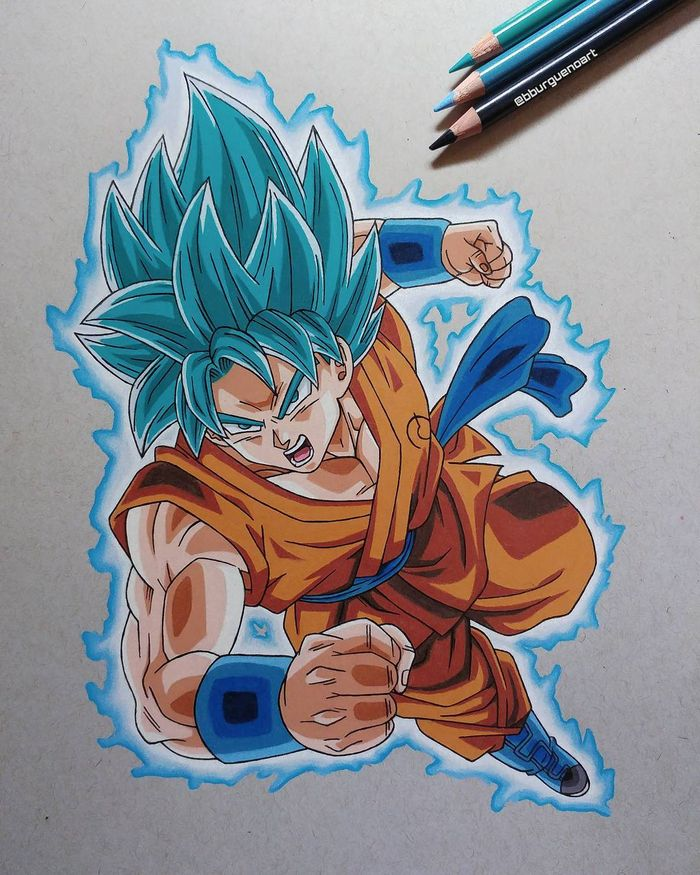 Dessins Dragon Ball sur papier Strathmore