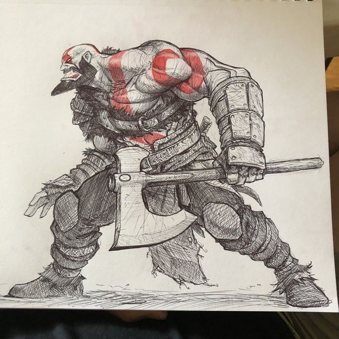 God Of War : Dessin de Kratos au stylo à bille par Joverine
