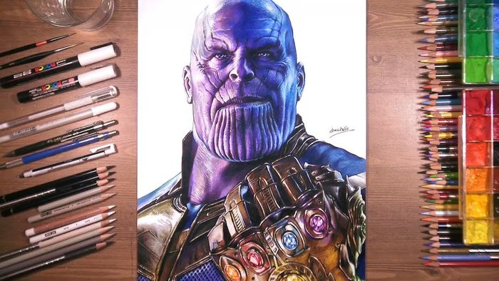 Avengers Infinity War Dessin De Thanos Aux Crayons De Couleurs