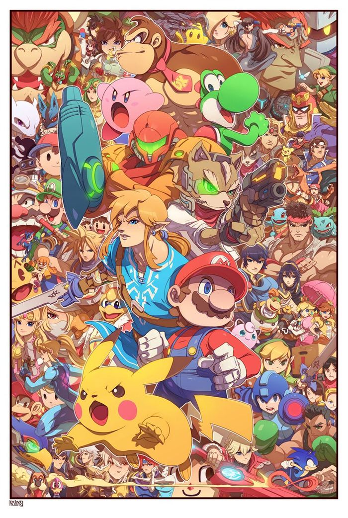 Dessins Smash Bros, My Hero Academia, Dragon Ball, Full Metal Alchemist par Edwin Huang