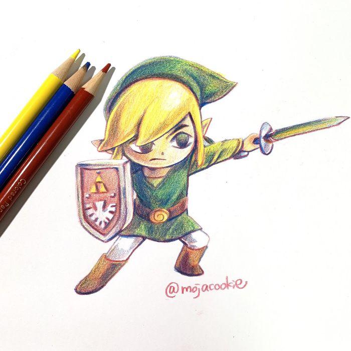 Colorier Aux Crayons De Couleurs Link De The Legend Of Zelda Par Mojacookie