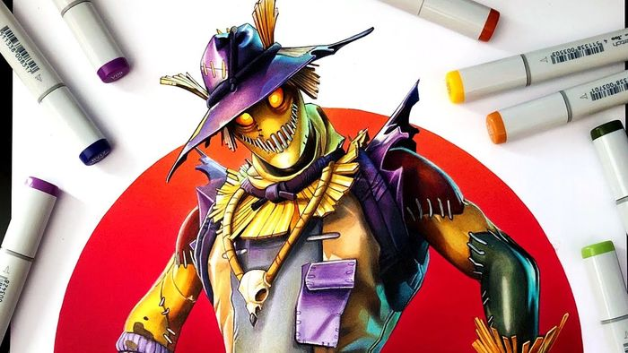 Vidéo colorier au feutre COPIC : Hay Man du jeu Fortnite