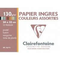 Papier Clairefontaine Ingres 24x32 Assorties 130g