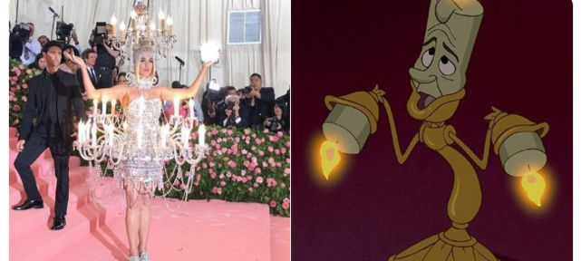 Katy Perry en chandelier et burger au Met Gala